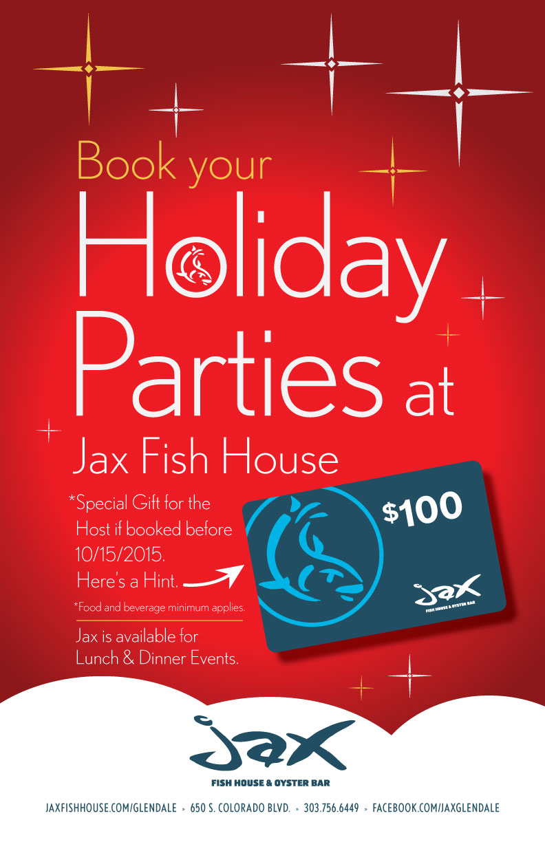 Jax fish house jaxg holidyparty promo poster 2015 for Jax fish house kansas city