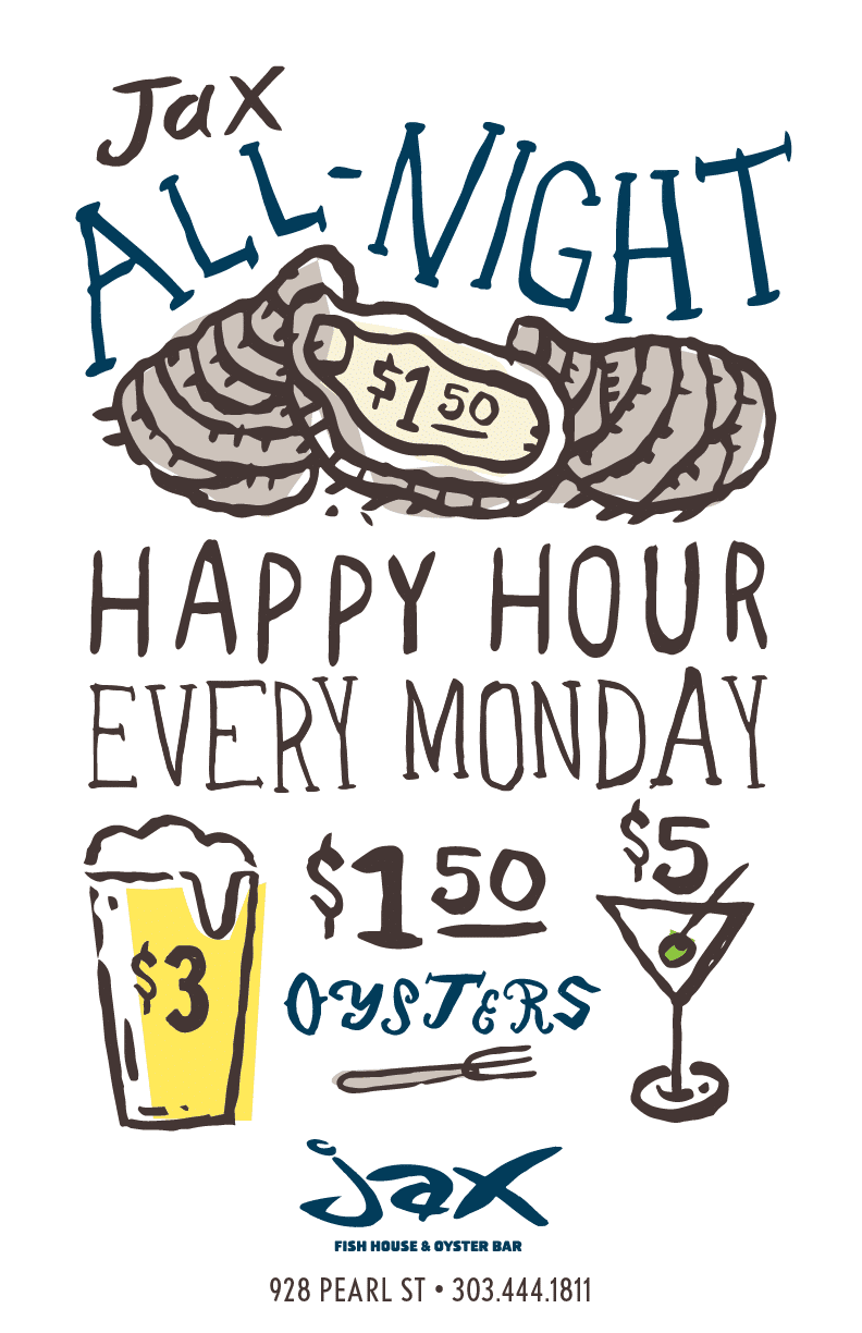 Jax fish house all night happy hour for Big fish happy hour